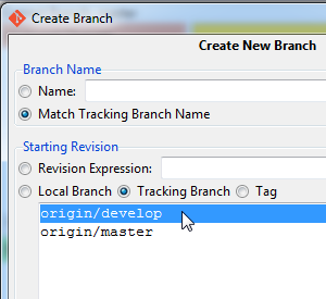 Git GUI create tracking branch